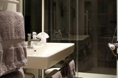 Das moderne Bad mit Dusche – das WC ist separat